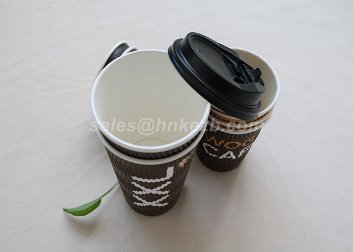 Customized 20oz Hot Drink Cups With Lids , Ripple Disposable Cups For Hot Drinks